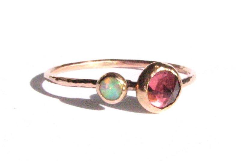 Свадьба - Rose Cut Pink Tourmaline Ring, Opal Ring - SOLID Rose Gold Ring - Tourmaline Engagement Ring - Rose Gold Engagement Ring - Opal Rose Gold.