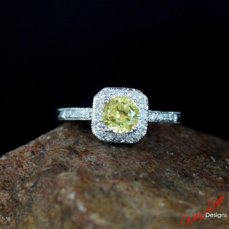 Свадьба - Yellow & White Sapphire Antique Cushion Halo Filigree Engagement Ring 1ct 6mm-Custom-Wedding-Anniversary 14k White Yellow Rose Gold-Platinum