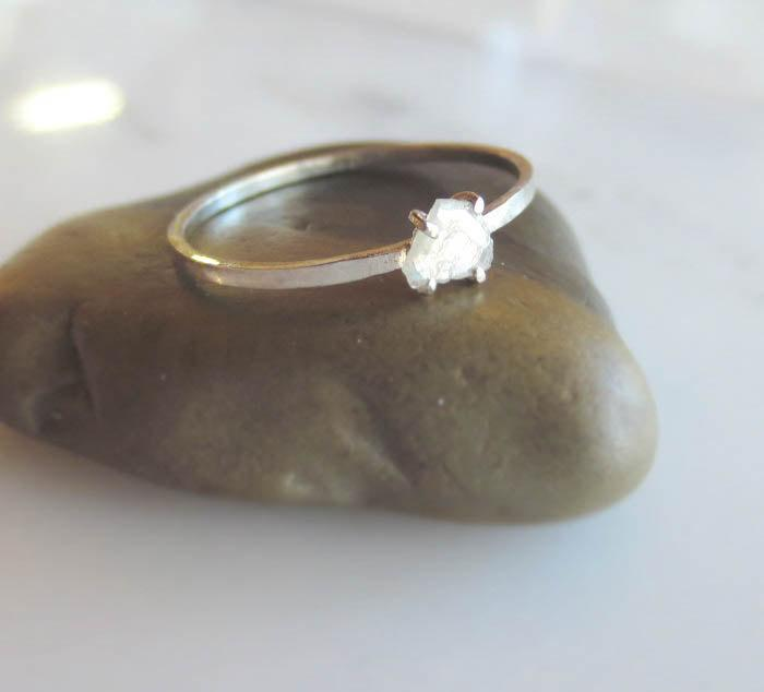Свадьба - Diamond Slice Engagement Ring, Alternative Wedding Ring, Rose Cut Organic Shape, Rose Gold, Yellow Gold, White Gold Made To Order