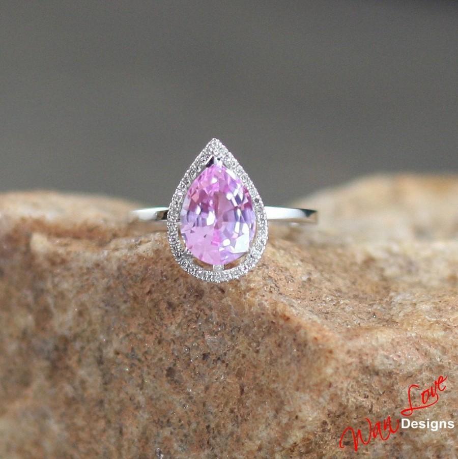 Свадьба - Pink Sapphire Diamond Halo Engagement Ring Pear Plain shank Band 2.5ct 10x7mm 14k White Yellow Rose Gold-Platinum-Custom-Wedding-Anniversary