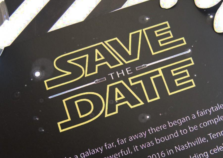 زفاف - Star Wars Inspired, May the Force be with you, Lightsaber, The Force Awakens Wedding Save the Date Cards (set of 25 cards)