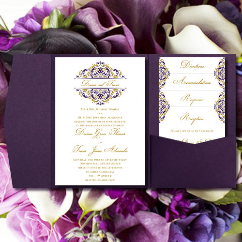 Pocket Fold Wedding Invitations Grace Majestic Royal Purple Gold