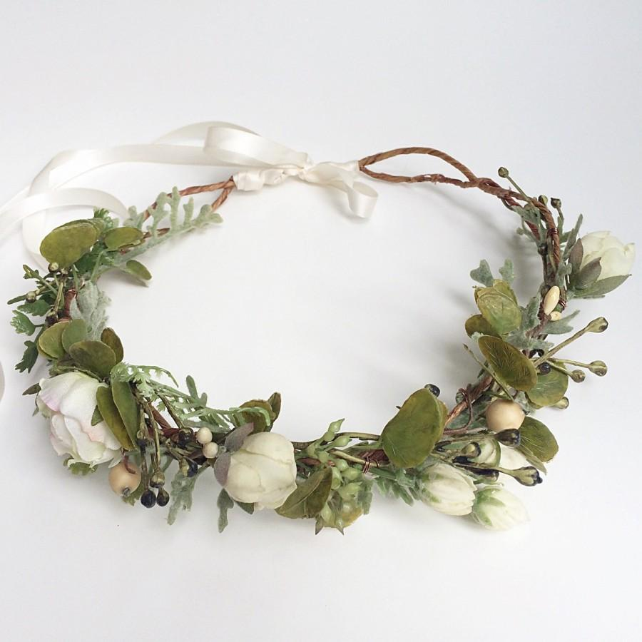 Mariage - Flower Crown Wedding- Greenery Crown- Berry Halo- Wedding Floral Headpiece- Rustic Wedding Wreath- Woodland Crown- Floral Circlet