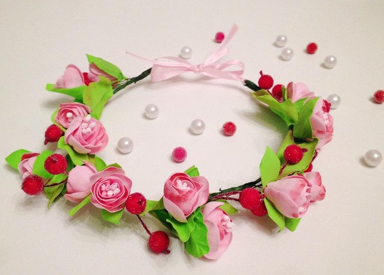 Mariage - Pink Flower Crown Red Rose Buds Foam Boho Floral Headband Bridal Head Wreath Hair Piece Gift for Her Women Gift Bridesmaid Crown Flower Girl