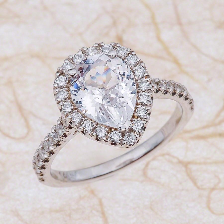 Свадьба - Pear Shape White Sapphire Diamond Halo Engagement Ring - 14kt White Gold 0.55 ctw G-SI2 Quality Diamonds