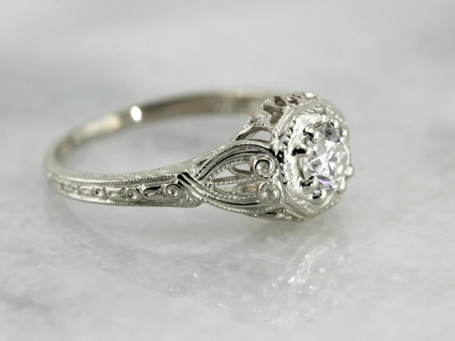 "Свадьба - Filigree Diamond Engagement Ring, The ""Lotus"" Flower, Original Art Deco Reproduction K52J1A-P"