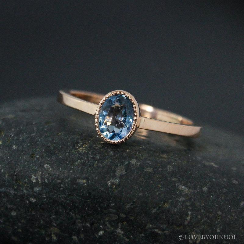 Wedding - Oval Aquamarine Ring – Santa Marie Blue