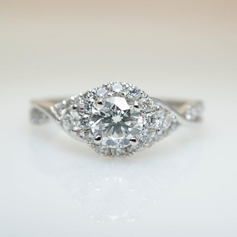 زفاف - Infinity Twist 3 Stone Diamond Halo Engagement Ring 14k White Gold Diamond Engagement Ring Flower Style Intricate Engagement Ring Elegant
