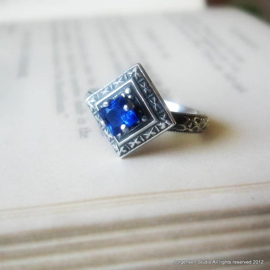 Mariage - Blue Sapphire Engagement Ring Promise Ring  with Edwardian Oxidized Sterling Silver Gemstone Ring