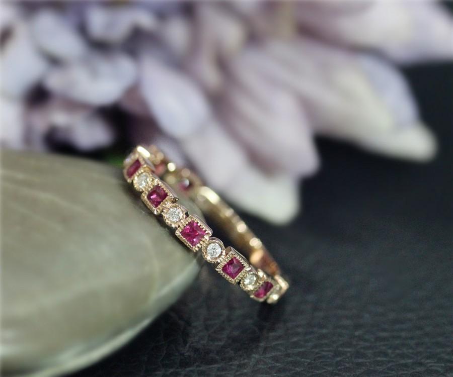 زفاف - Natural Diamond & Natural Red Ruby Wedding Ring 3/4 Eternity Engagement Solid 14K Rose Gold Ring Anniversary Ring Matching Band BirthdayGift