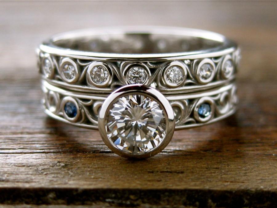زفاف - EGL Certified Diamond Engagement & Wedding Ring in Palladium with Blue Sapphires and Floral Scroll Motif Size 6