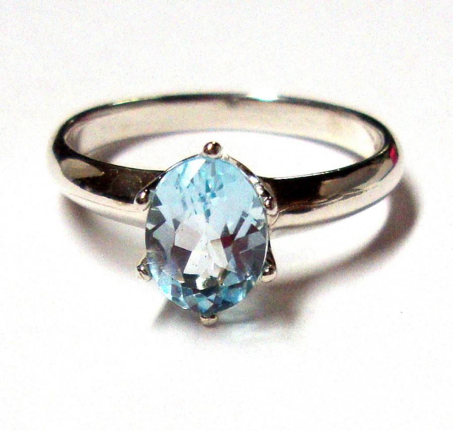 زفاف - Topaz Ring -  Sky Blue Topaz in recycled hammered Sterling Silver- Custom made in your Size