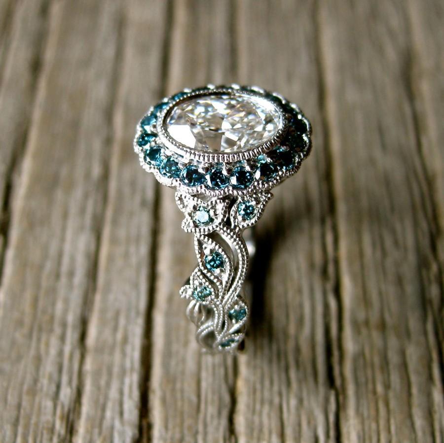 زفاف - Yehuda Diamond Engagement Ring in Platinum with Teal Turquoise Blue Diamonds in Fine Vine Setting Size 6