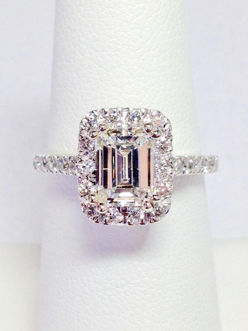 1 00ct emerald cut halo engagement ring