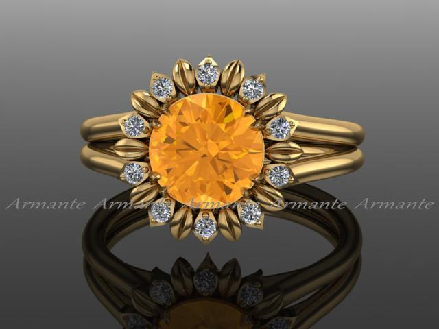 زفاف - Sunflower Ring, Engagement Ring, Citrine And Diamond Flower Ring, 14k Yellow Gold Wedding Ring Re00030