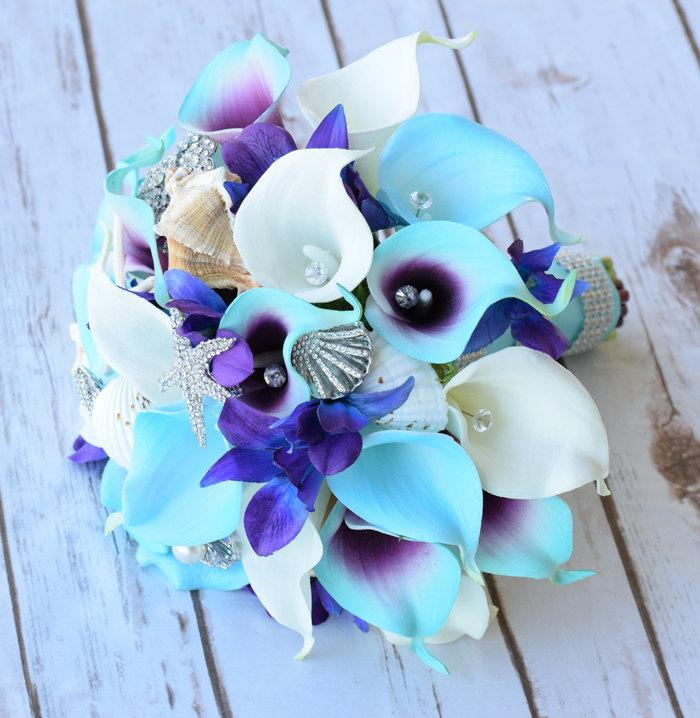 Свадьба - Purple Turquoise Blue Beach Brooch Silk Flower Wedding Bouquet - Purple Blue Calla Lilies and Orchids Natural Touch Silk Bridal Bouquet