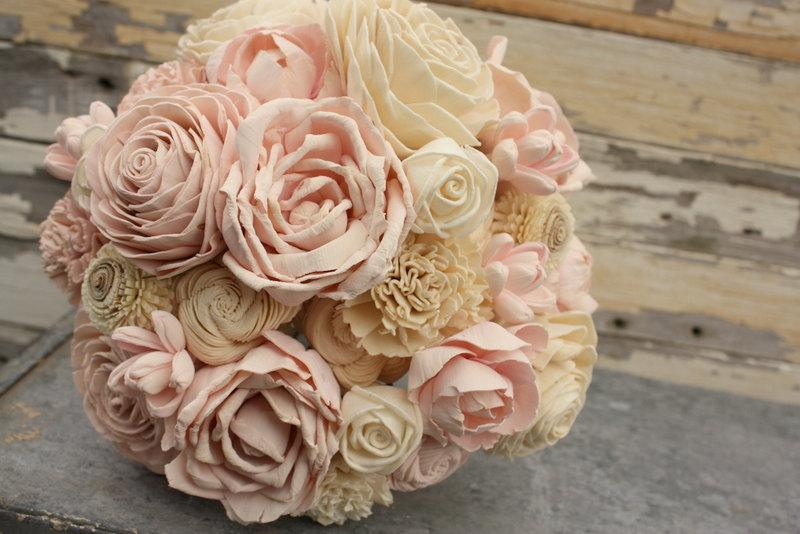 Wedding - Blush pink wedding bouquet, sola flower bouquet, pale pink sola wood wedding flowers, wood flower bouquet, alternative eco flowers