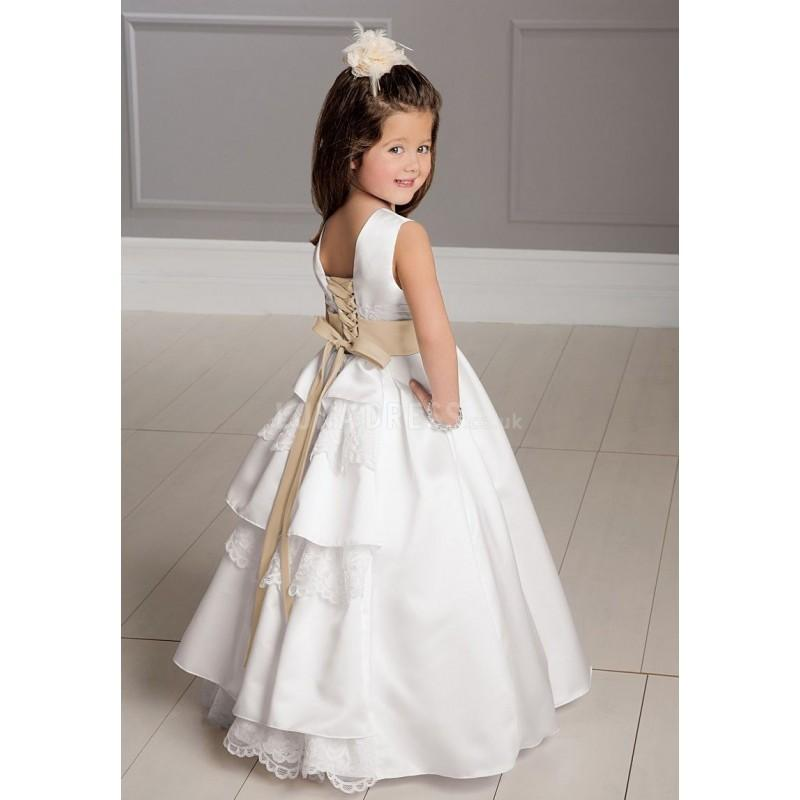 Mariage - Satin Floor Length Jewel With Sash Ball Gown Flower Girl Dress - Compelling Wedding Dresses