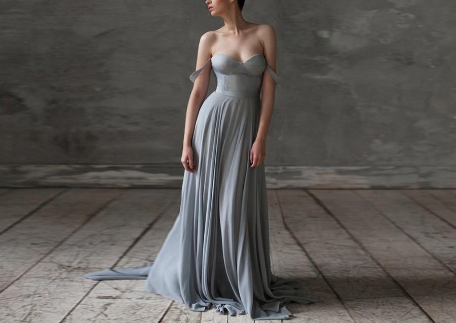 Grey Wedding Dresses Silk Wedding Dress Boho Wedding Dress