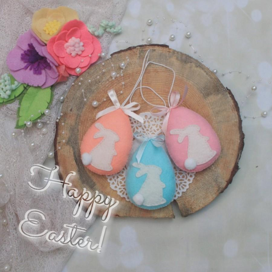 زفاف - Easter egg hanging ornament - set of 3 - easter felt ornament