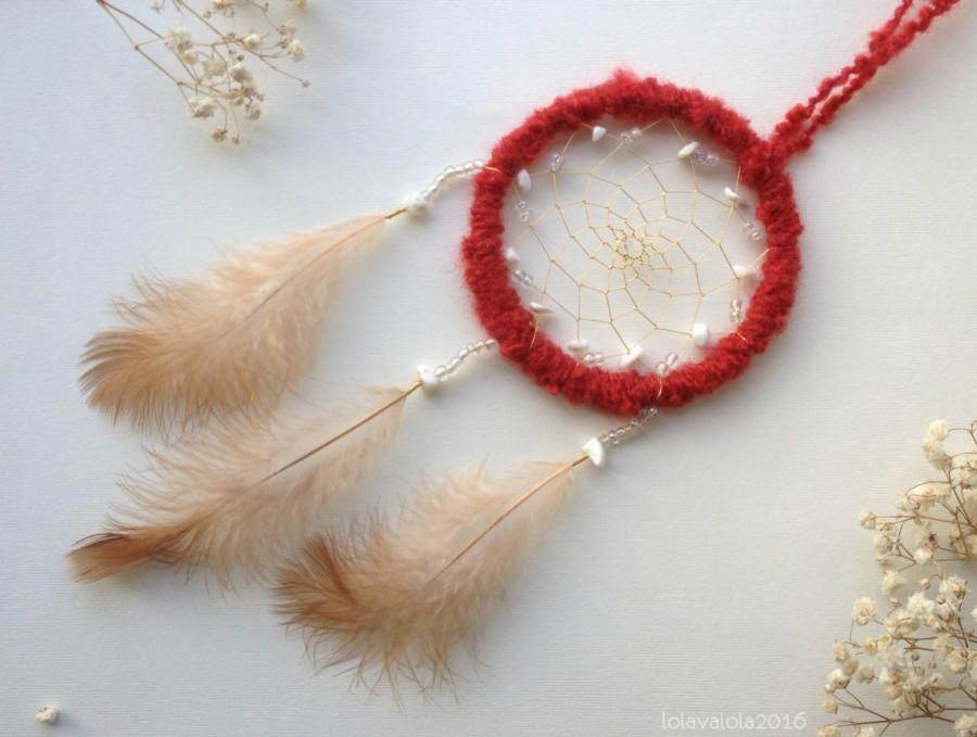 Wedding - Small red dreamcatcher with white beads and feathers