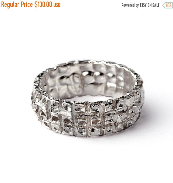 زفاف - Valentines Day SALE - MAJESTIC Unique Wedding Band for Men for Women, Alternative Wedding Band, Textured Wedding Band, Sterling Silver Weddi