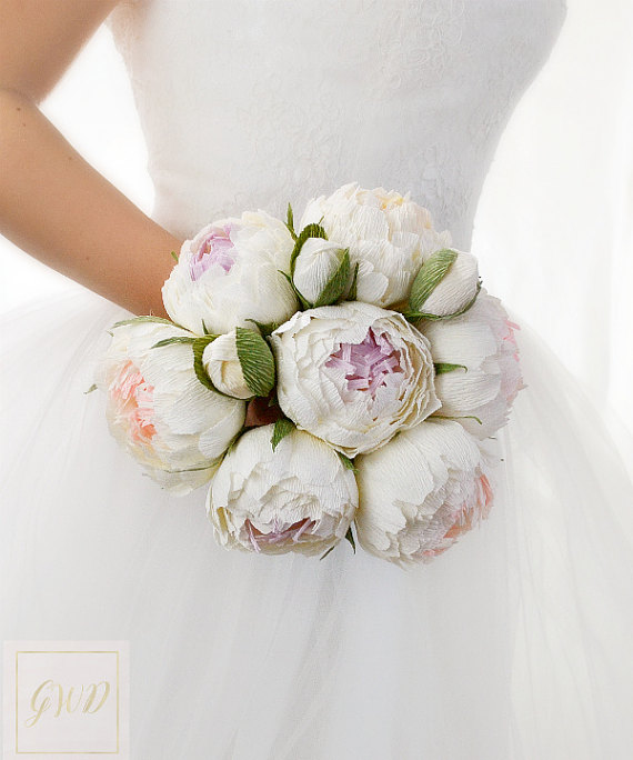 Boda - White Wedding Bouquets Flowers Peonies Paper Bouquet Bridal Bouquet Bridesmaids Bouquet Keepsake Bouquet Toss Bouquet Girl Flowers Girl Wand