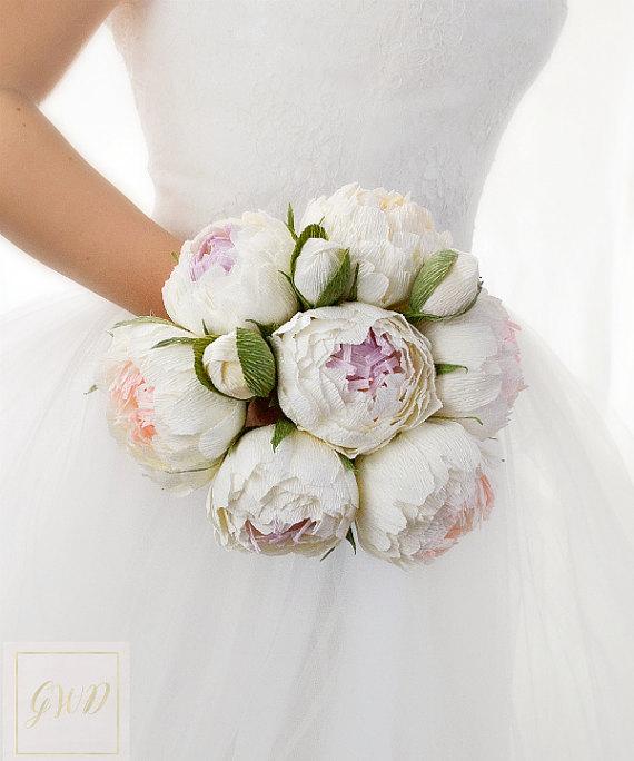 Wedding - White Wedding Bouquets Flowers Peonies Paper Bouquet Bridal Bouquet Bridesmaids Bouquet Keepsake Bouquet Toss Bouquet Girl Flowers Girl Wand