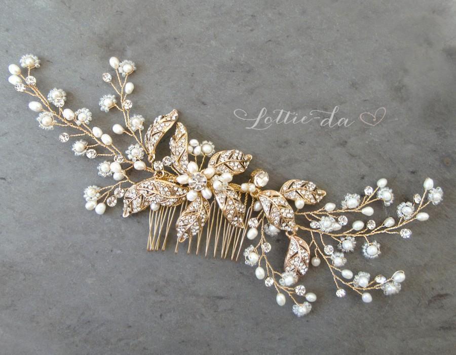 Свадьба - Boho Gold Flower Leaf Hair Vine Wedding Headpiece, Silver Wire Wedding Hair comb, Wedding Gold Hair vine leaves, Boho Headpiece - 'EMMALINE'