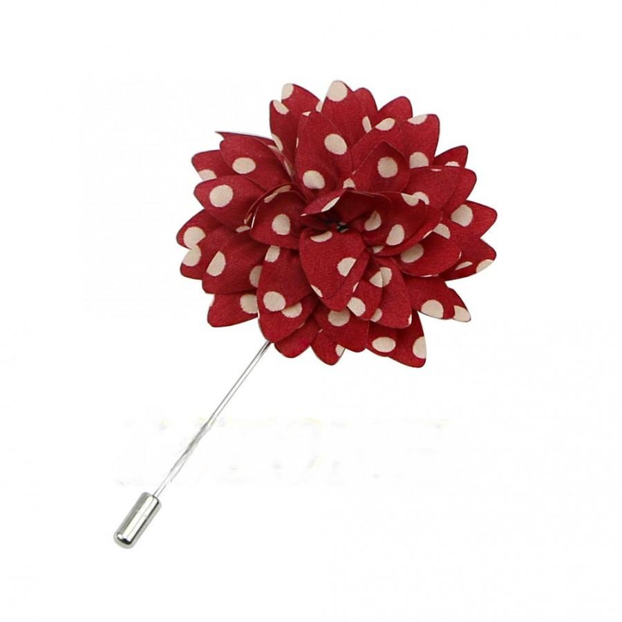 Red White Polka Dot Boutonniere Lapel Flower Pins Mens Lapel Pin