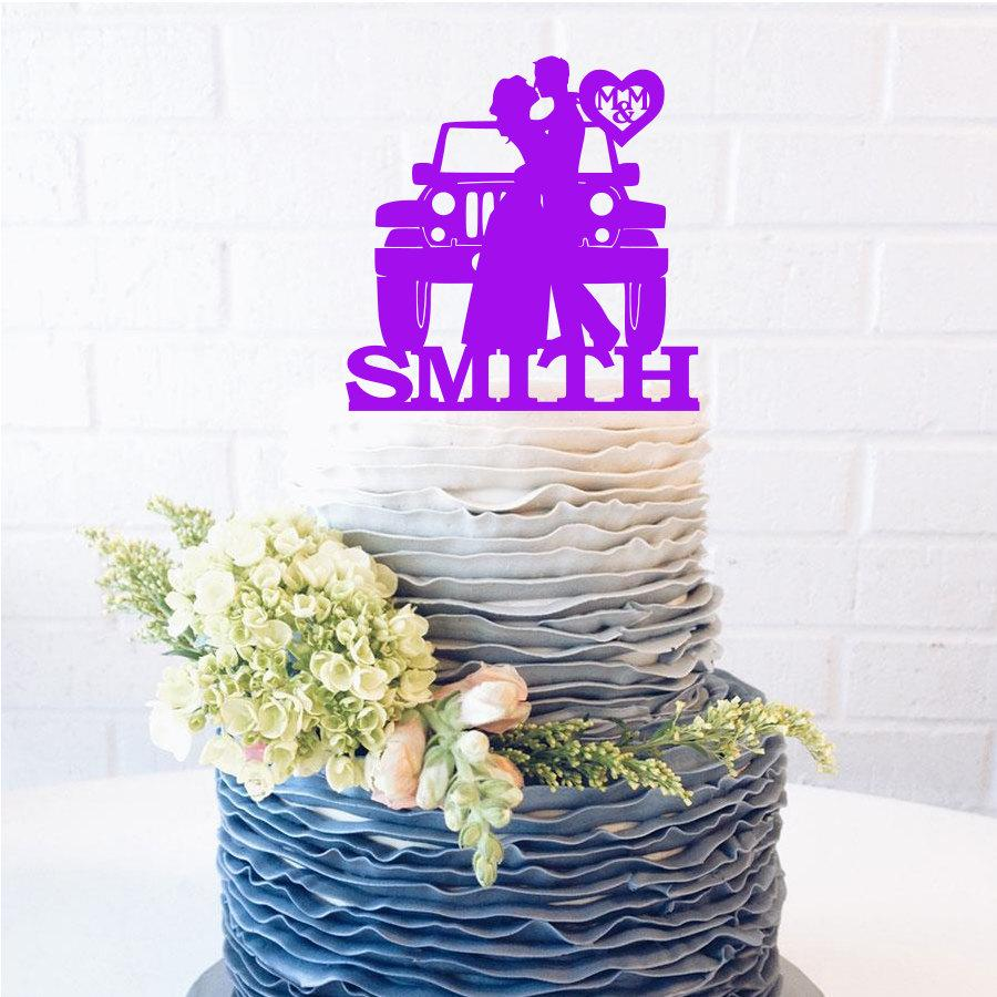 Свадьба - Last Name Jeep Couple Wedding Cake Topper Jeep Cake Topper Jeep wedding cake topper bride & groom initials offroad wedding silhouette topper