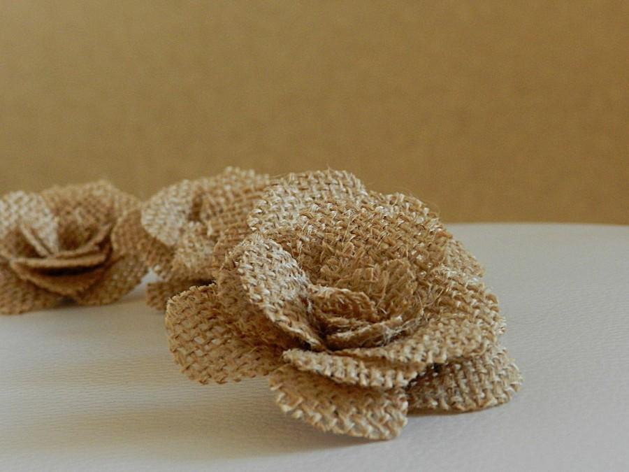 Свадьба - Burlap Flower, Burlap Flowers, Vintage flowers, Rustic flowers, Burlap Cake Decor, Burlap Cake Flowers, Wedding Cake Flowers, Set of 10