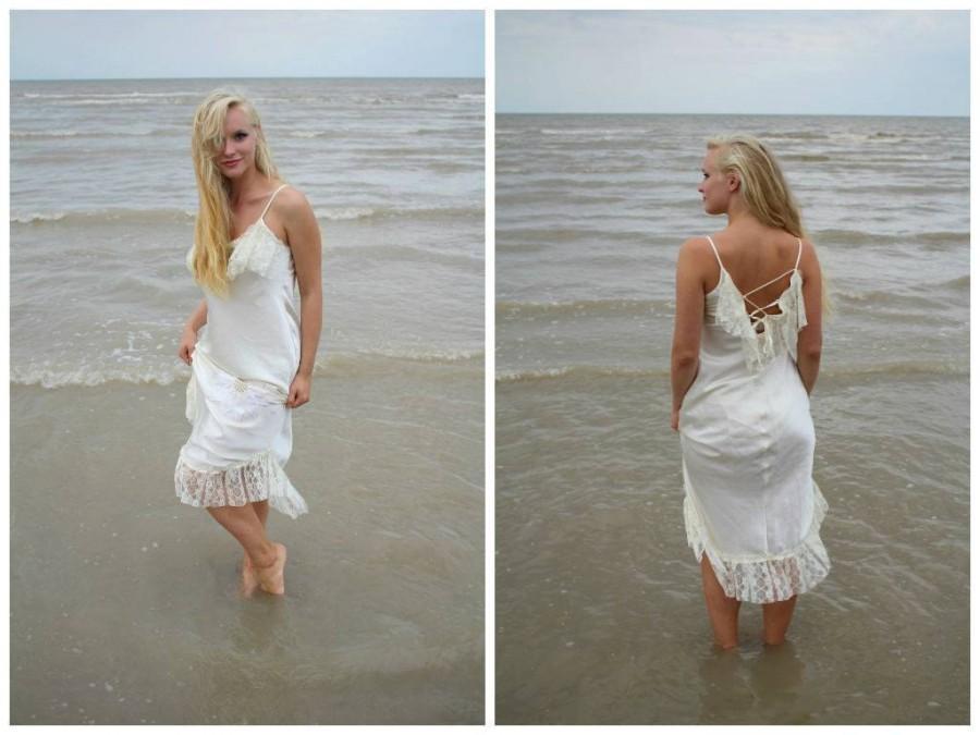 زفاف - Sale 20% OFF/Summer dream/ bridesmaid dress/Flirty/shabby chic/size M/ecofriendly,OOAK, Dress BASKET with laces Boho  Hippie  Gipsy