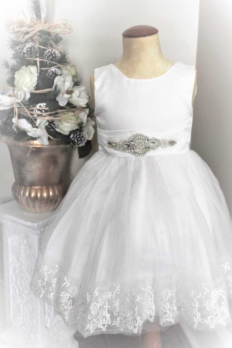 زفاف - White Flower Girl Dress- White Lace Flower Girl Dress- Couture Flower Girl Dress- Birthday Girls Dress
