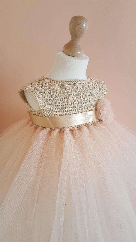 زفاف - SALE 30%, tutu dress, crochet dress, crochet yoke, princess dress, bridesmaid dress,gold dress, baby dress, toddler dress, baptism dress