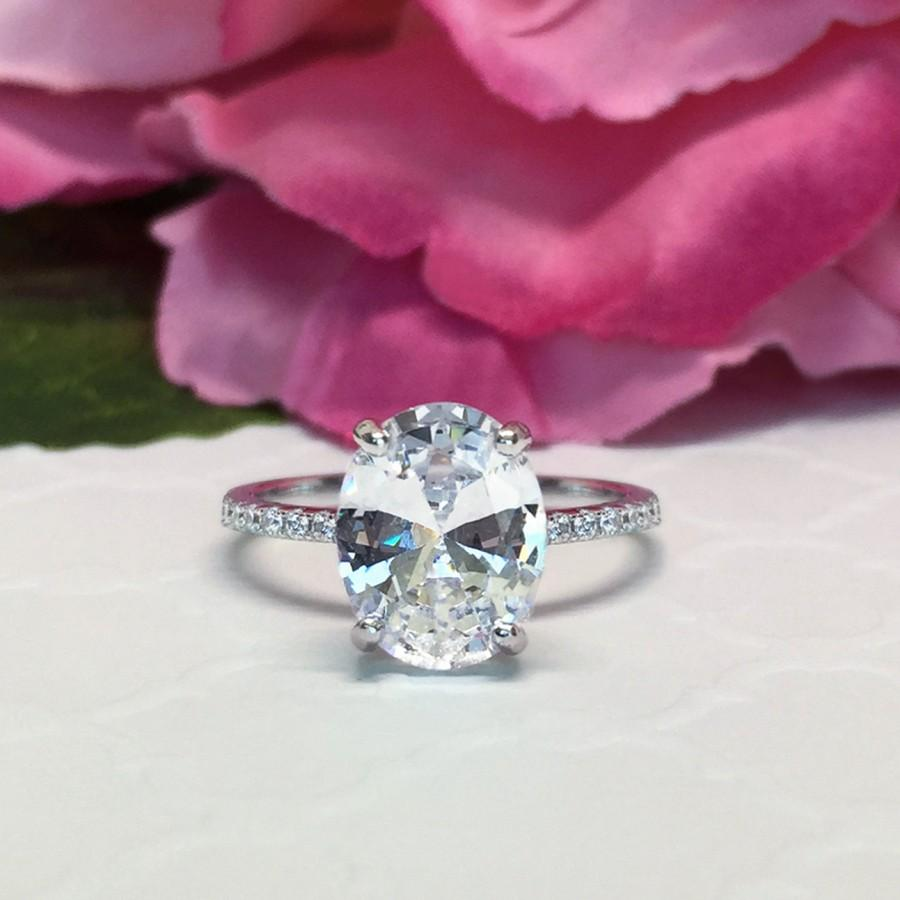 3.25 Ctw, 3 Ct Oval Accented Solitaire Ring, Blake Engagement Ring ...