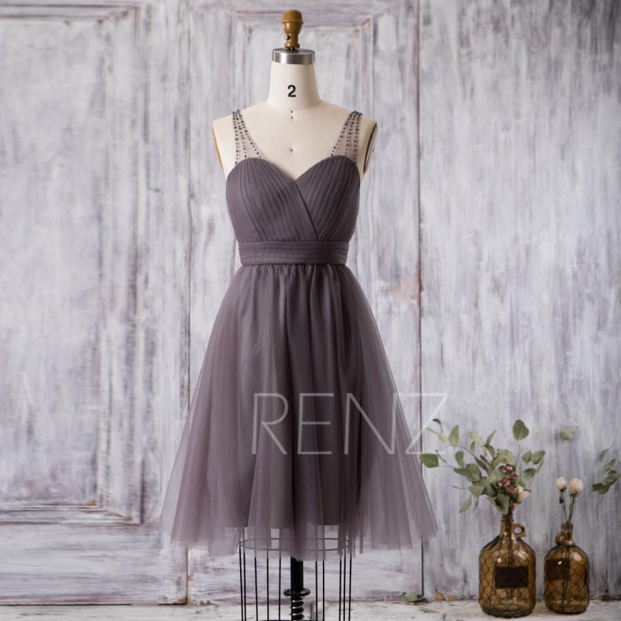 زفاف - 2016 Short Bridesmaid dress, Charcoal Gray Cocktail dress, Wedding dress, Prom dress Backless, Beaded Strap Formal dress knee length(FS250B)