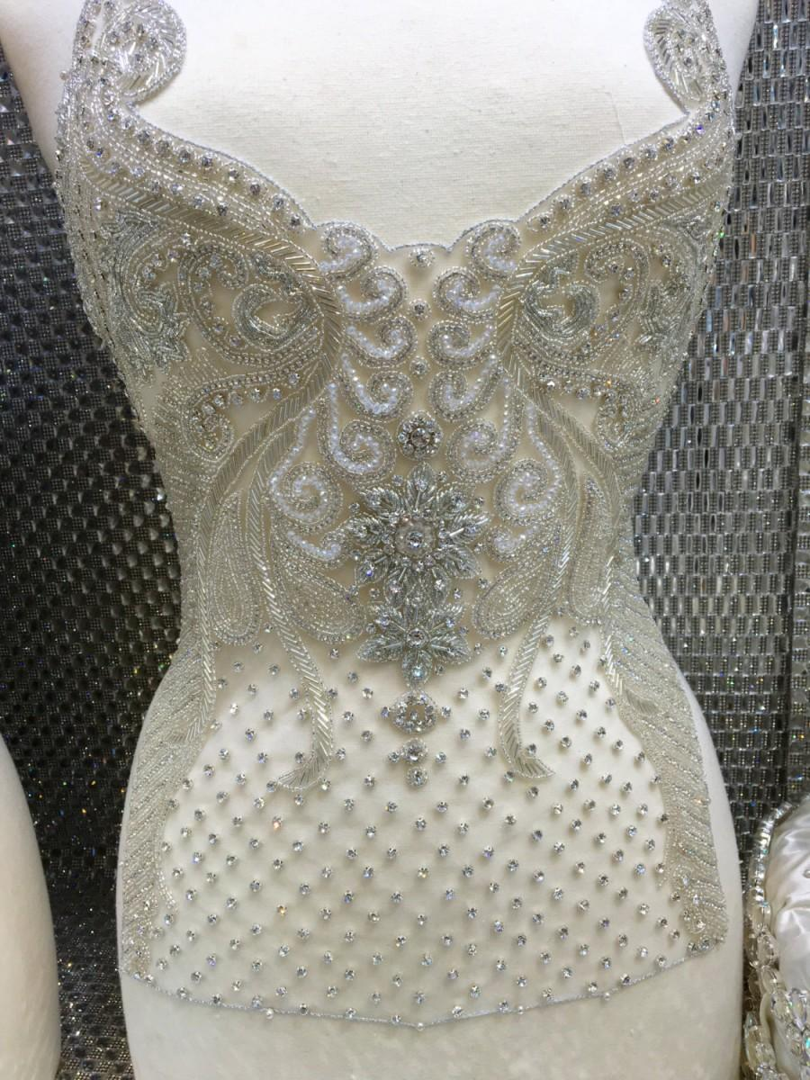 زفاف - Wedding gown beaded embroidery/ bridal gown applique/bridal embroidery