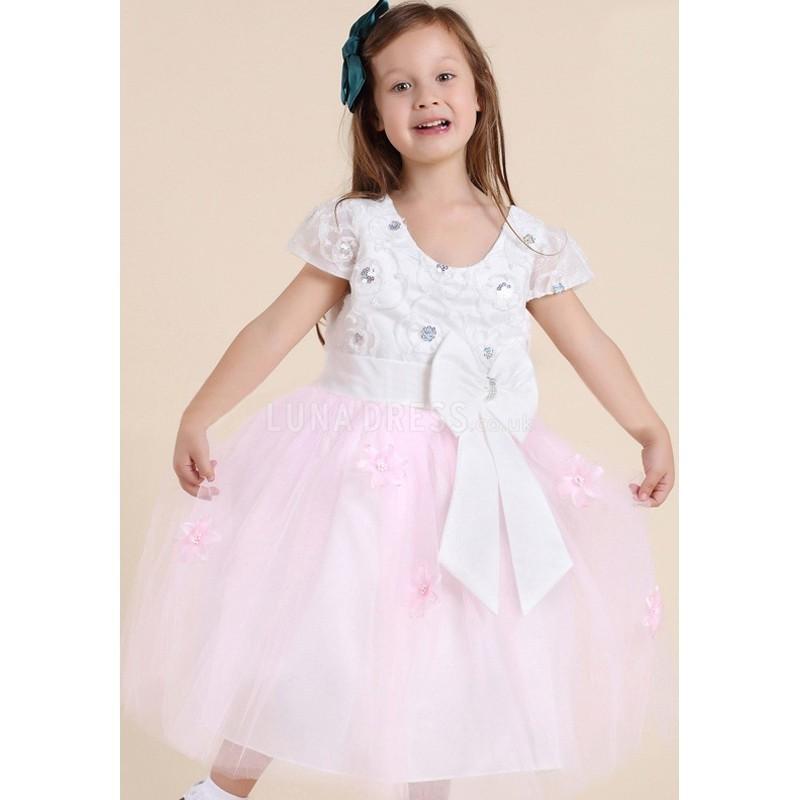 Wedding - Elegant Pink Princess Scoop With Bowknot Flower Girl Dress - Compelling Wedding Dresses