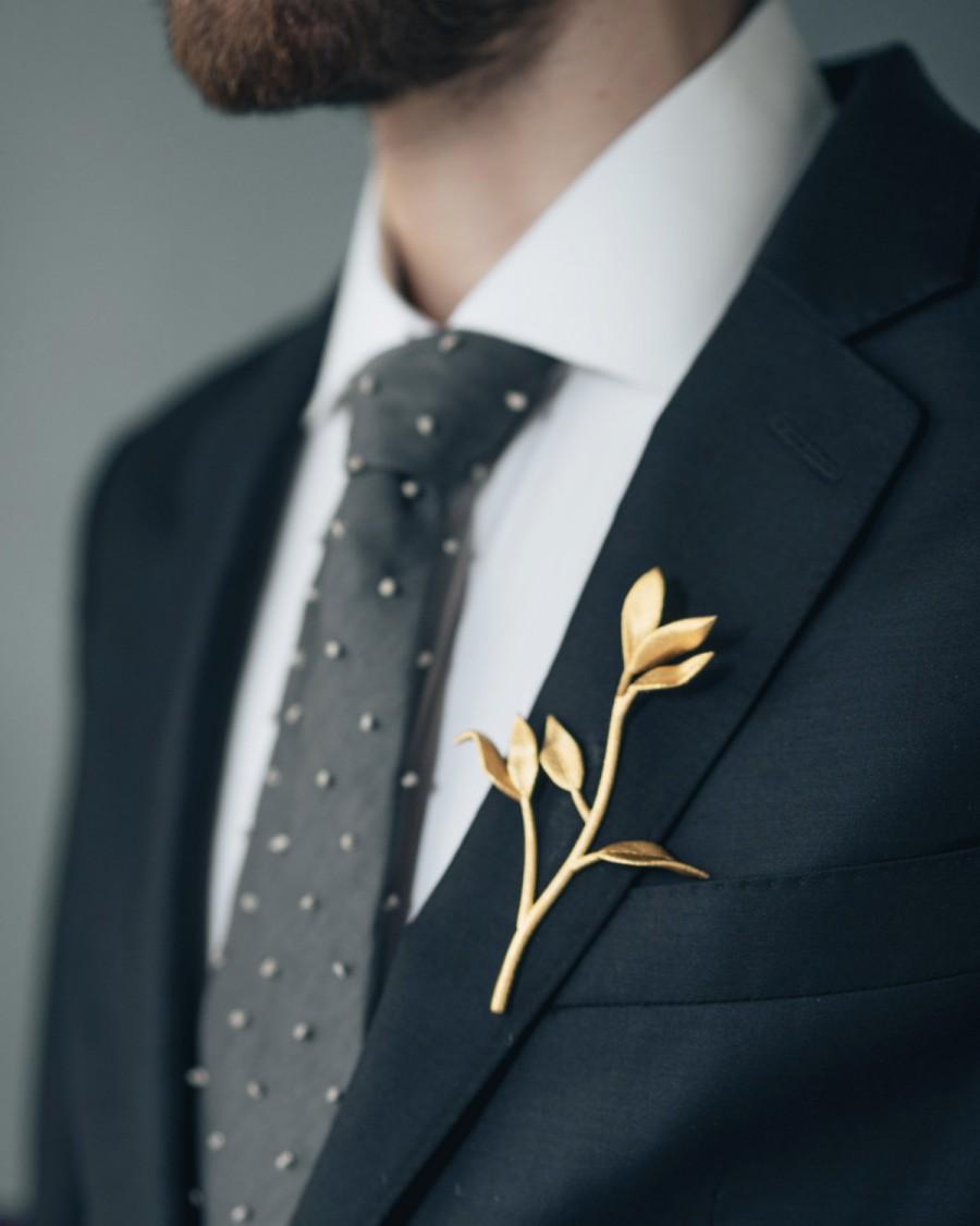 زفاف - Leaf & Branch Boutonniere- 3D Printed Stainless Steel Men's Suiting Accessory