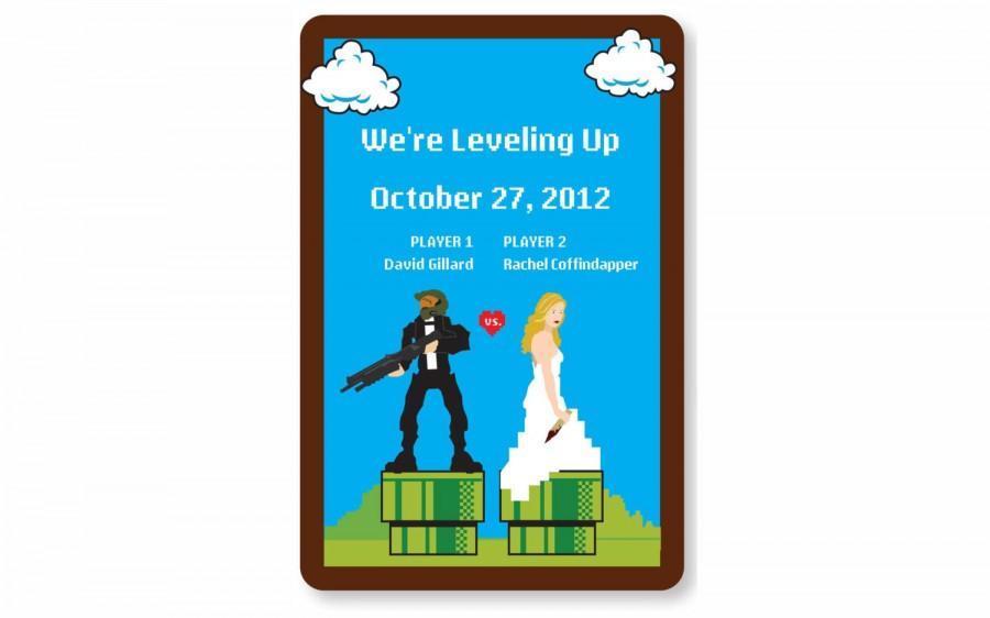 Hochzeit - 8-bit fun Wedding Invitation Postcard