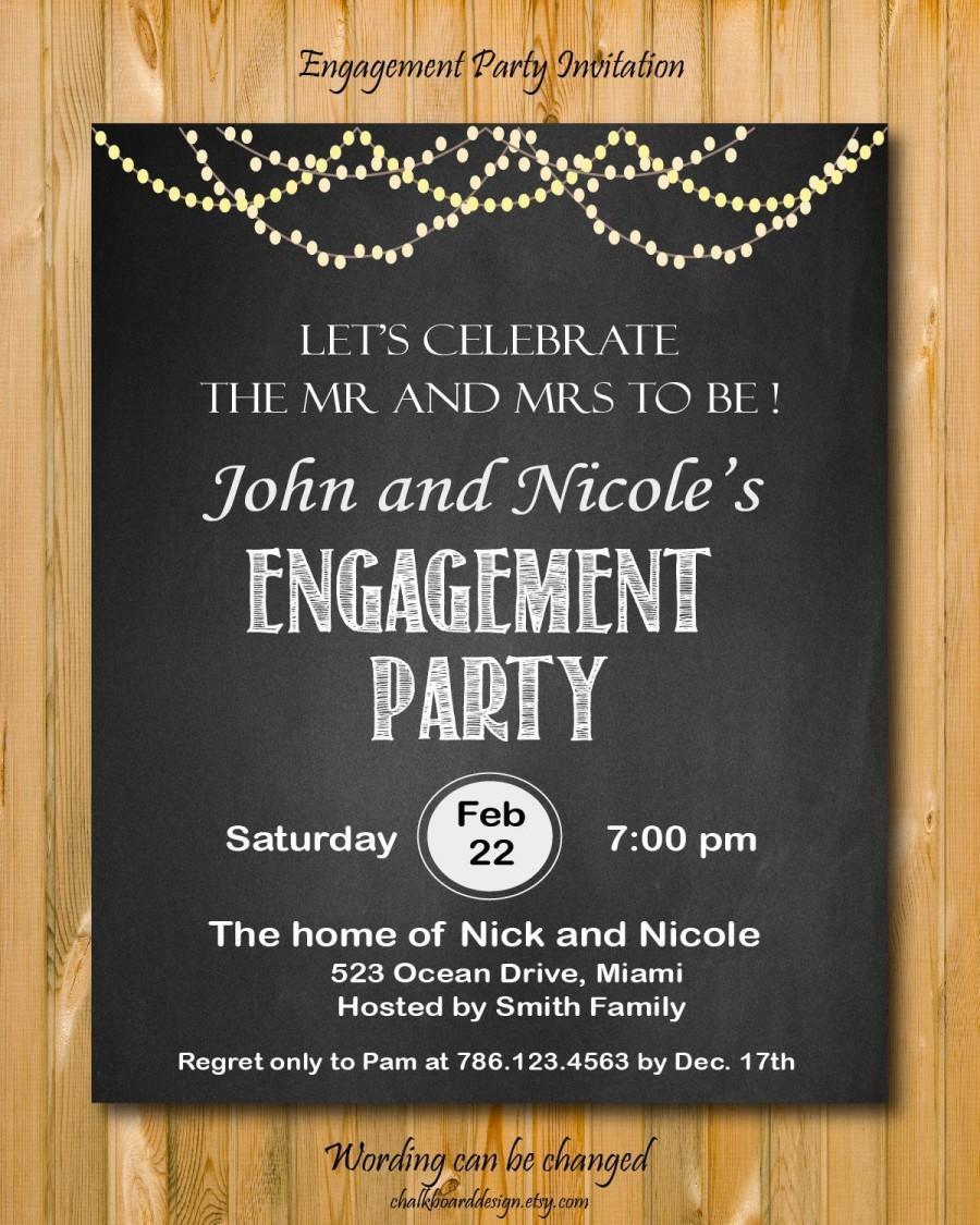 Свадьба - Printable engagement invitation, DIY Engagement Party invitation, custom chalkboard invite