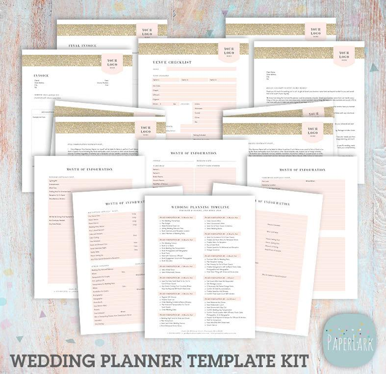 wedding planner forms and contracts template set photoshop