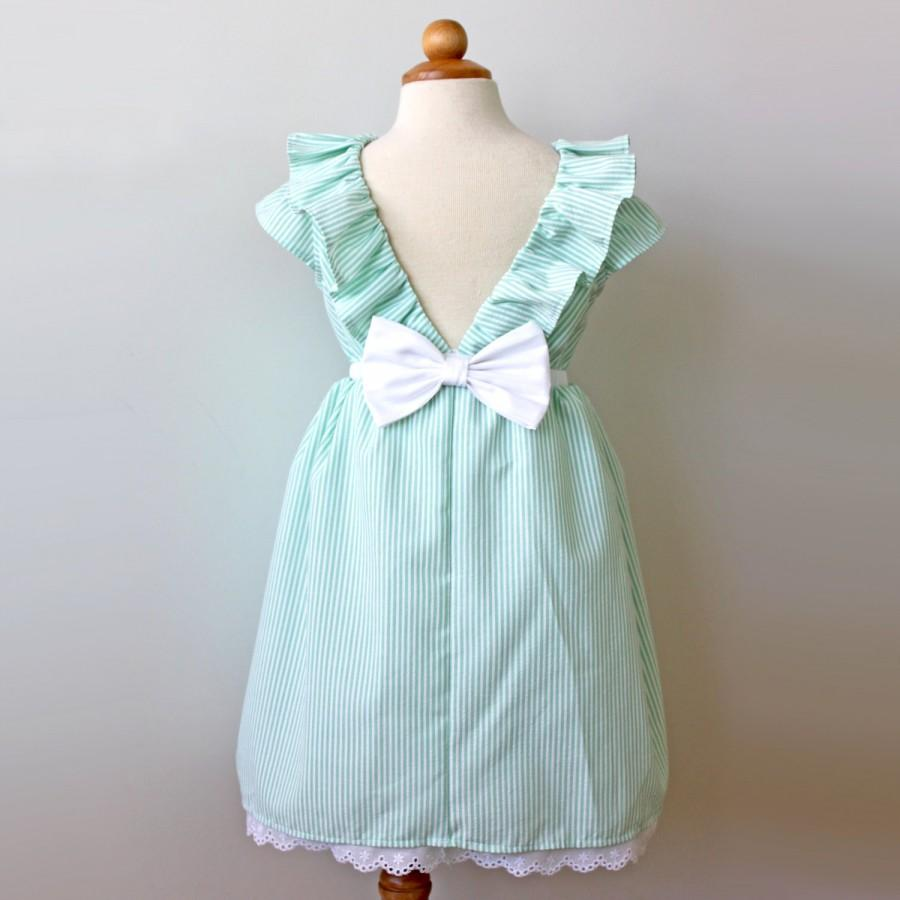Свадьба - Seersucker Green and White Dress, Flower Girl, Easter, Special Occasion