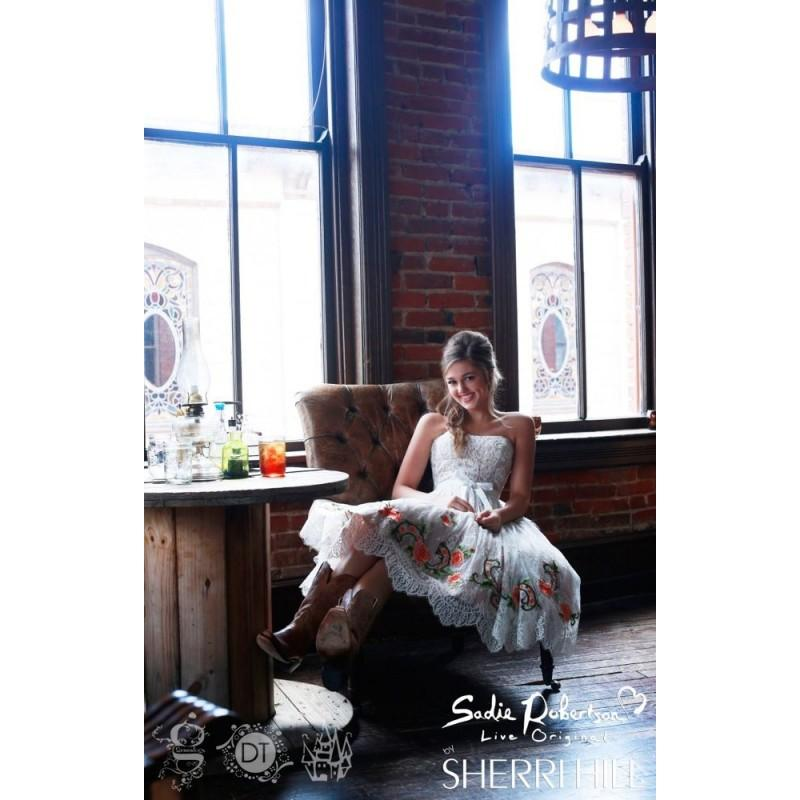 Wedding - Ivory/Fuchsia Sherri Hill 21229 - Short Tea Length Lace Dress - Customize Your Prom Dress