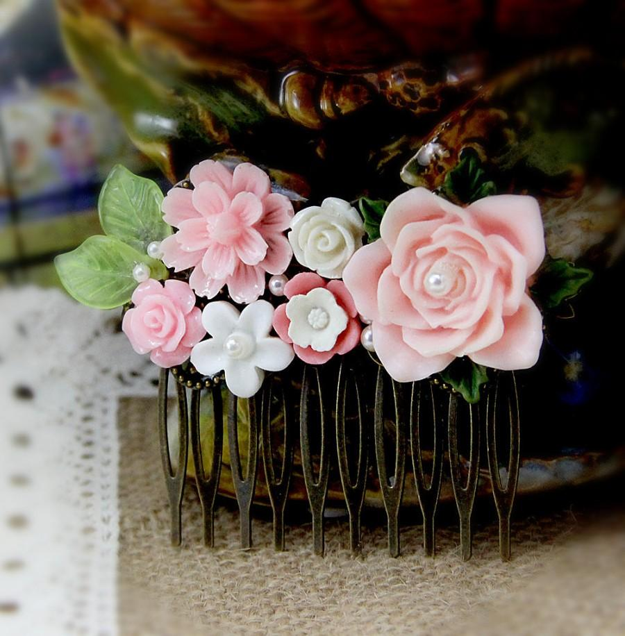 Art Deco Bridal Comb Pink Rose Hair Comb Resin Flower Hair Pin