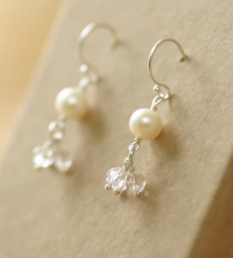 3b22ac245 Bridal earrings pearl, crystal earrings, bridal earrings Swarovski, pearl  drop earrings, cluster earrings - Florence