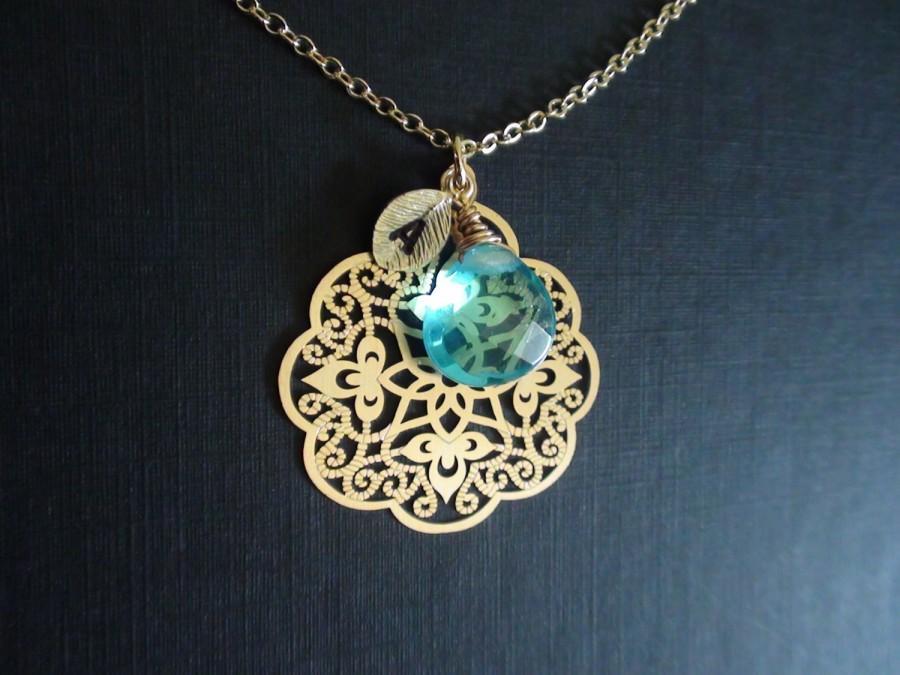 Hochzeit - 15% Off-Personalized Birthstones Necklace, Necklace, Beadwork Necklace, Filigree, Initial, Statement, Bridesmaids Gift, Wedding Gift,