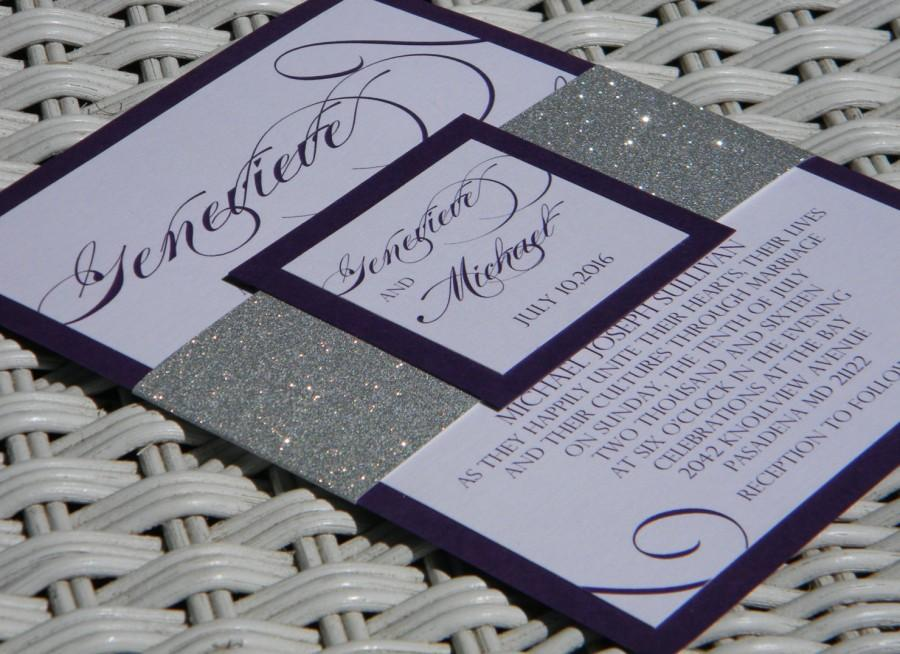 Silver Glitter And Eggplant Wedding Invitation Suite Bling Invitations