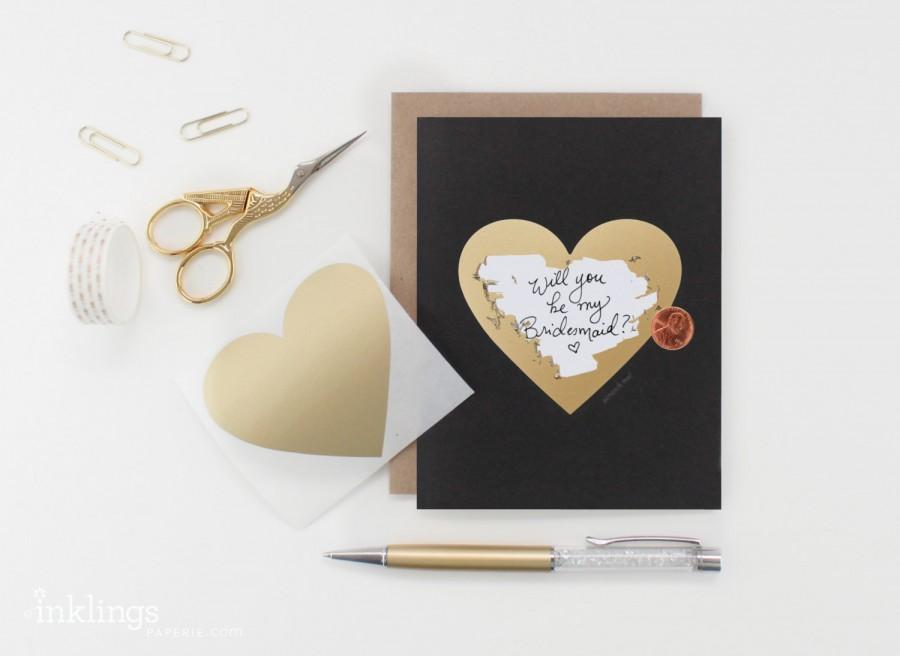 """Wedding - 6 Scratch-off """"Will You Be My Bridesmaid / Maid of Honor"""" Cards // Black and Gold Heart"""